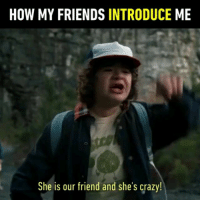 9gag, Crazy, and Friends: HOW MY FRIENDS INTRODUCE ME  She is our friend and she's crazy! Tag your crazy friend 👫 Follow @9gag - - - 9gag strangerthings friendship