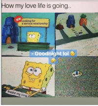 Life, Lol, and Love: How my love life is going  Looking for  a serious relationship  Goodnight lol  waste my time f Accurate 🤷‍♂️😂 https://t.co/upxtE98PLI