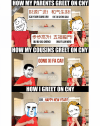 Memes, Chinese, and 🤖: HOW MY PARENTS GREET ON CNY  (CAI YUAN GUANG JIN)  CHE QI SHENG CAD  CBU BU GAO SHENG)  CWU FULIN MEN)  HOW MY COUSINS GREETON CNY  GONG XI FA CAI!  HOW IGREET ON CNY  UH  HAPPY NEW YEAR? When your Chinese really CMI...