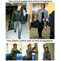 Memes, 🤖, and Moose: How normal people look in front of paparazzi  How Misha Collins look in front of paparazzi - Not Moose