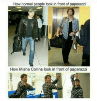 Memes, 🤖, and Paparazzi: How normal people look in front of paparazzi  How Misha Collins look in front of paparazzi