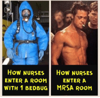 Word.: How NURSES  HOW NURSES  ENTER A  ENTER A ROOM  WITH 1 BEDBUG MRSA ROOM Word.