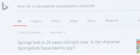 How Old Is Spongebob: how old is spongebob squarepants character  All mages VideosMapsNewsShopping  1,790,000 Results  Any time  Sponge bob is 26 years old right now. Is the character  Spongebob Squarepants gay?