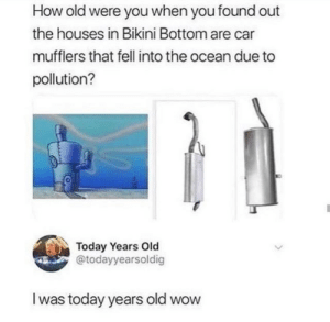 Wow, Bikini Bottom, and Bikini: How old were you when you found out  the houses in Bikini Bottom are  mufflers that fell into the ocean due to  pollution?  Today Years Old  @todayyearsoldig  Iwas today years old wow  www.AP
