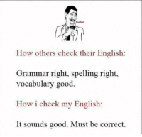grammar: How others check their English:  Grammar right, spelling right,  vocabulary good  How i check my English:  It sounds good. Must be correct.