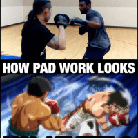 Anime, Boxing, and Memes: HOW PAD WORK LOOKS Repost from @kamenramenstudios - hand speed training like HajimeNoIppo with my man @lilbombmma. Best. Boxing Anime. Ever. Shoutout to all my fellow anime lovers out there. 👌🏾Not a fighter. Just a Blerd fighting for film. 😂 -- If you're in the NY-NJ area you can contact @lilbombmma or @kamenramenstudios for training sessions for film or practical use. Check my stories for more. 👍🏾
