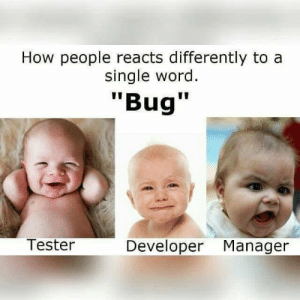 "What Is, Word, and Single: How people reacts differently to a  single word  ""Bug""  Tester  Developer Manager What is your react?"