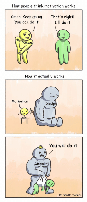 How, Can, and Motivation: How people think motivation works  Cmon! Keep going.  That's right!  I'll do it  You can do it!  ativation  ation  How it actually works  Motivation  Discipli  You will do it  Disciplin  @impostorcomics [OC] Motivation