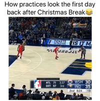 Basketball, Christmas, and Nba: How practices look the first day  back after Christmas Break  WASHINGTONA  -  TICKETS  ON SALE NOW  ATL 71 3:37 WSH 30  DET 57 3rd  IND 35  2nd 8:24 18 Rusty😂 (Via ‪_CoachMetz‬-Twitter)