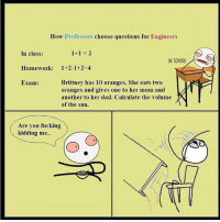 Brittney: How Professors  choose questions for  Engineers  1+1 2  In class:  IN SCHOOL  Homework  Brittney has 10 oranges. She eats two  Exam:  oranges and gives one to her mom and  another to her dad. Calculate the volume  of the sun.  Are you fucking  kidding me