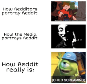 Facts, Memes, and Reddit: How Redditors  portray Reddit:  Welcome to downtown Coolsville.  How the Media  portrays Reddit:  Reddit  How  really is:  |(CHILD SCREAMING) 30-minute-memes:  I'm spitting facts