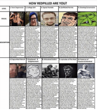 Where do y'all fall on this chart? I'm personally at 9.: HOW REDPILLED ARE YOU?  Total Degenerate College  sw 3.Typical Numale  and may  DESCRIPTIO  6, Di  sgruntled Mensch 7 Displeased &  Articulated Soldier  9. Upholder of The West  10. Preserver of  Enlightenment  Freedom & Mankind  and  people.  knowledge  stars some May. Where do y'all fall on this chart? I'm personally at 9.
