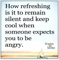 www.wisdomquotes4u.com: How refreshing  is it to remain  silent and keep  cool when  someone expects  vou to be  angry  Wisdom  ae  Quotes www.wisdomquotes4u.com