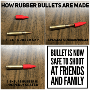 Cries in Hong Kong: HOW RUBBER BULLETS ARE MADE  2. PLACE OF STANDARD BULLET  1. GET RUBBER CAP  BULLET IS NOW  SAFE TO SHOOT  AT FRIENDS  AND FAMILY  3.ENSURE RUBBER IS  PROPERLY SEATED Cries in Hong Kong