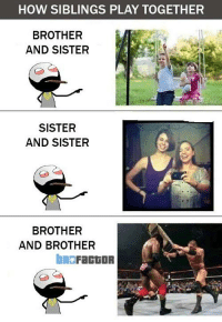 brother: HOW SIBLINGS PLAY TOGETHER  BROTHER  AND SISTER  SISTER  AND SISTER  BROTHER  AND BROTHER  bRO  FactOR