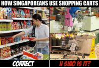Saw people doing this on <link in bio> … Please hor.. use things properly can or not?: HOW SINGAPOREANS USE SHOPPING CARTS  CAUTION  o 123rf  Screengrabs Mediacorp  CORRECT  SAO IS IT? Saw people doing this on <link in bio> … Please hor.. use things properly can or not?