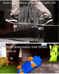 😂😂😂 skatermemes: How skate videos look fied with HD  OC  How skate videos look filmed  with vx 😂😂😂 skatermemes