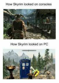 Memes, Police, and Skyrim: How Skyrim looked on consoles  How Skyrim looked on PC  POLICE BOX ~Matt from the page Threadiverse Stop By: We Post GIFs