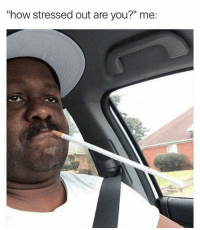 "If cigarettes lower stress, I'm going to start smoking 24-7: ""how stressed out are you?"" me: If cigarettes lower stress, I'm going to start smoking 24-7"