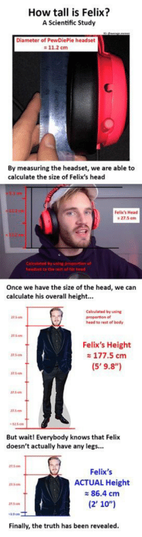 """Head, Truth, and Been: How tall is Felix?  A Scientific Study  Diameter of PewDiePie headset  11.2 cm  By measuring the headset, we are able to  calculate the size of Felix's head  Felix's Head  : 27.5 cmm  headset to the rest of his head  Once we have the size of the head, we can  calculate his overall height.  Calculated by using  27.5  head to rest of body  27.5m  Felix's Height  177.5 cm  27.5m  But waitl Everybody knows that Felix  doesn't actually have any legs...  7.5cm  Felix's  ACTUAL Height  86.4 cm  (2' 10"""")  3.5  7.5 em  1.9 cm  Finally, the truth has been revealed"""