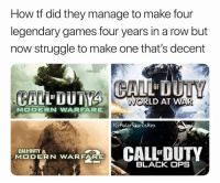 Memes, Struggle, and Black: How tf did they manage to make four  legendary games four years in a row but  now struggle to make one that's decent  OF  WORLD AT WAR  IGPolarSaurusRex  CALL-DUTY  CALL-DUTY  RN WARF  BLACK OPS Even MW3 and BO2 after this, now it's the other way around 🤧 Follow me for more @PolarSaurusRex