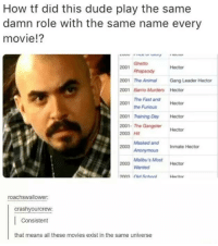 Funny, Fast and Furious, and Damned: How tf did this dude play the same  damn role with the same name every  movie!?  Ghetto  2001  Rhapsody  Hector  2001  The Animal  Gang Leader Hector  2001  Barrio Murders Hector  The Fast and  Furious Hector  the 2001  2001 Training Day  Hector  2001- The Gangster  Hector  2003 Hit  Masked Inmate Hector  and 2003  Malibu's Most  Hector  2003 wanted  roachswallower:  crashy ourcrew  Consistent  that means all these movies exist in the same universe