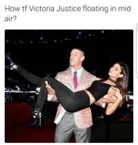 Funny, Lmao, and Justice: How tf Victoria Justice floating in mid  air? You cant see me lmao