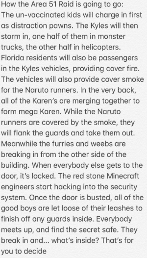 Fire, Minecraft, and Monster: How the Area 51 Raid is going to go:  The un-vaccinated kids will charge in first  as distraction pawns. The Kyles will then  storm in, one half of them in monster  trucks, the other half in helicopters.  Florida residents will also be passengers  in the Kyles vehicles, providing cover fire.  The vehicles will also provide cover smoke  for the Naruto runners. In the very back,  all of the Karen's are merging together to  form mega Karen. While the Naruto  runners are covered by the smoke, they  will flank the guards and take them out.  Meanwhile the furries and weebs are  breaking in from the other side of the  building. When everybody else gets to the  door, it's locked. The red stone Minecraft  engineers start hacking into the security  system. Once the door is busted, all of the  good boys are let loose of their leashes to  finish off any guards inside. Everybody  meets up, and find the secret safe. They  break in and... what's inside? That's for  you to decide I spent hours analyzing how the area 41 attack is going to go