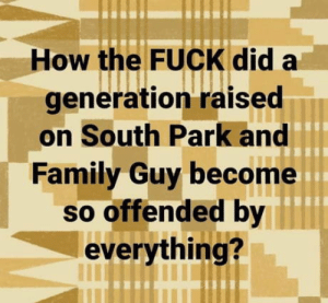 Fair f**king point!: How the FUCK did a  generation raised  on South Park and  Family Guy become  so offended by  everything? Fair f**king point!