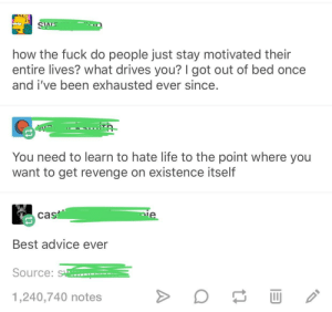 Advice, Life, and Revenge: how the fuck do people just stay motivated their  entire lives? what drives you? I got out of bed once  and i've been exhausted ever since  You need to learn to hate life to the point where you  want to get revenge on existence itself  cas  Best advice ever  Source:  1,240,740 notes Best advice