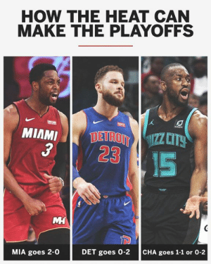 Dwyane Wade's farewell tour could be extended into the postseason.  Here's how the Miami Heat can make the playoffs:: HOW THE HEAT CAN  MAKE THE PLAYOFFS  3  23  IS  MIA goes 2-0  DET goes 0-2  CHA goes 1-1 or 0-2 Dwyane Wade's farewell tour could be extended into the postseason.  Here's how the Miami Heat can make the playoffs: