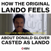 And we agree: HOW THE ORIGINAL  LANDO FEELS  YOU LOOKABSOLUTELK BEAUTIFUL  ABOUT DONALD GLOVER  CASTED AS LANDO  IGN And we agree