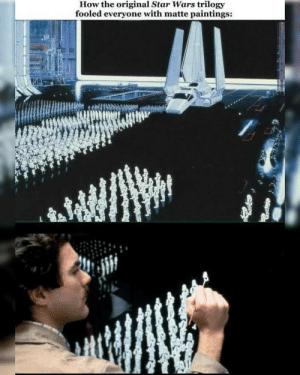 Q: Did you know this scene was a matte painting? - by Christopher Evans, Raplh McQuarrie and Harrison Ellenshaw, Mike Pangrazio. -: How the original Star Wars trilogy  fooled everyone with matte paintings: Q: Did you know this scene was a matte painting? - by Christopher Evans, Raplh McQuarrie and Harrison Ellenshaw, Mike Pangrazio. -