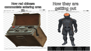 Reddit, Verizon, and Chinese: How they are  getting out  How red chinese  communists entering area  51  85%  AM  92 AM  LTE  Verizon LTE  Verizon  85%  stealth boy  fallout 3 chinese stealth armor  a Red Chinese invaders are join the Area 51 raid