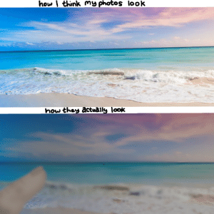 (Hopefully relatable) I'm I the only one who just sucks at taking photos? Also Google didn't have a useful stock image of a thumb so I had to draw it myself.: how think my photos look  how they åctuaily look (Hopefully relatable) I'm I the only one who just sucks at taking photos? Also Google didn't have a useful stock image of a thumb so I had to draw it myself.