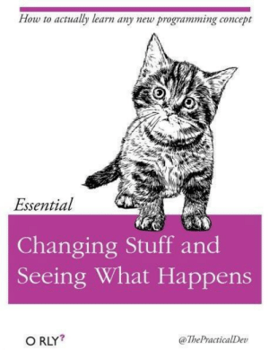 My favorite programming book.: How to actualy learn any new programming concept  Essential  Changing Stuff and  Seeing What Happens  O RLY?  @ThePractialDev My favorite programming book.