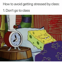 How To, How, and Class: How to avoid getting stressed by class:  1. Don't go to class 😂😴