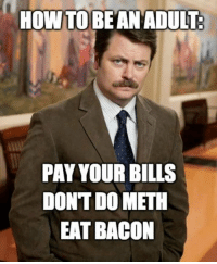 Adult Memes: HOW TO  BE AN ADULT.  PAYYOURBILLS  DONTDOMETH  EAT BACON