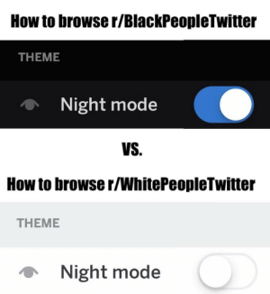 A guide to reddit: How to browse r/BlackPeopleTwitter  THEME  Night mode  VS.  How to browse r/WhitePeopleTwitter  THEME  Night mode A guide to reddit