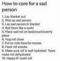 Memes, Movies, and Couch: How to care for a sad  person  1. Lay blanket out  2. Pick up sad person  3. Lay sad person in blanket  4. Roll them like a sushi  5. Place sad roll on bed/couch/comfy  place  6. Hug roll close  7. Put on rolls favorite movies  8. Feed roll snacks  9. Make sure roll is well hydrated. Tears  make roll dehydrated  10. Happy li' sushi rol