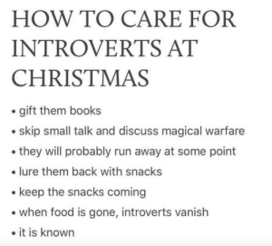 Can confirm: HOW TO CARE FOR  INTROVERTS AT  CHRISTMAS  • gift them books  • skip small talk and discuss magical warfare  • they will probably run away at some point  • lure them back with snacks  • keep the snacks coming  • when food is gone, introverts vanish  • it is known Can confirm