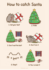 :P: How to catch Santa  oo0000  1. Set your bait  2. Hide  000000ooo  3. Don't eat the bait  4. Don't do it  o000000  5. Stop!!  6. You ruined it  Pusheen.com :P