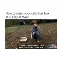 Memes, 🤖, and Box: How to clean your cats litter box  THE RIGHT WAY  CLEANING TIPS WITH UNCLE ROB  HOW TO CLEAN A LITTER BOX  Uncle Rob Very informative😌 Turn on post notifications🆕 ( @nfcservices )