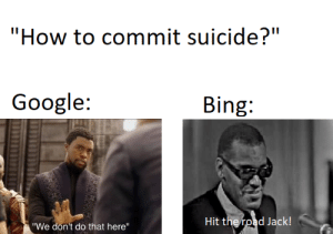 """Another Google vs Bing meme nothing original but who cares: """"How to commit suicide?""""  Google:  Bing:  Hit the road Jack!  """"We don't do that here"""" Another Google vs Bing meme nothing original but who cares"""