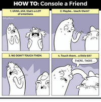 HOW TO: Console a Friend  1. Uhhh, shit, that's a LOT  2. Maybe... touch them?  of emotions.  3. NO DON'T TOUCH THEM.  4. Touch them... a little bit?  THERE, THERE.
