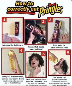 This is some serious gourmet shit: How to  correctlyeat  pangles  33  Pringles  ingles  Let stand for 2-3 hours  Peel away its  dead metallic shell  Rinse off all those  nasty spiders!  4  6  With your dominant hand,  activate your secret thumb  You've reached  your full potential  (Iknew you could do it.  You're so smart and beautiful)  With your pathetic hand,  dislocate Crillman's Lock.  (this is the joint that makes  Vour mouth so small and useless)  (you'll wanna get a real good  grip on those bad boys)  Enioy a good snackl  2 This is some serious gourmet shit