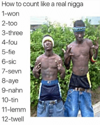🅱️: How to count like a real nigga  1-won  2-too  3-three  4-fou  5-fie  6-sic  /-Sevn  8-aye  9-nahn  10-tin  11-lemm  12-twell 🅱️