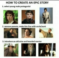 Lord of the rings, Harry Potter and Starwars all have in common nerd geek starwars sith lightsaber darthvader jedi stormtrooper lordoftherings lotr middleearth sauron harrypotter voldemort marvel dc batman anime horror thewalkingdead: HOW TO CREATE AN EPIC STORY  1 select young male protagonist  2, remove parents, make him live with uncle/aunt  3, introduce an old wise and bearded mentor Lord of the rings, Harry Potter and Starwars all have in common nerd geek starwars sith lightsaber darthvader jedi stormtrooper lordoftherings lotr middleearth sauron harrypotter voldemort marvel dc batman anime horror thewalkingdead