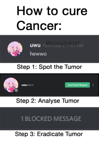uwu: How to cure  Cancer:  uwu  Yestetday  hewwo  Step 1: Spot the Tumor  uwu #9674  Send Friend Request  Step 2: Analyse Tumor  BLOCKED MESSAGE  Step 3: Eradicate Tumor