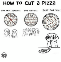 Memes, Pizza, and How To: HOW TO CUT Pizza  FOR sMaLL GRoups FOR PORTIES  JUST FOR You  ONO I think about this picture a lot